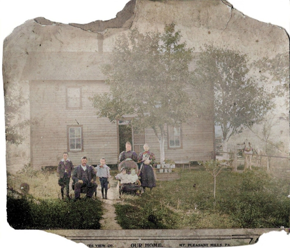 The Hughes family at their farmhouse, about 1896