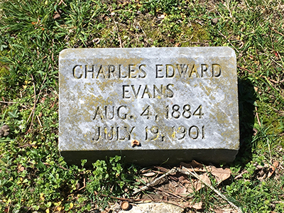 Charles Edward Evans grave marker Aug. 4, 1884 July 19, 1901