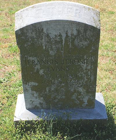 Francis Jerome Evans grave marker