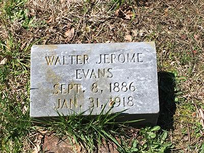 Walter Jerome Evans grave marker Sept. 8, 1886 Jan 31, 1918