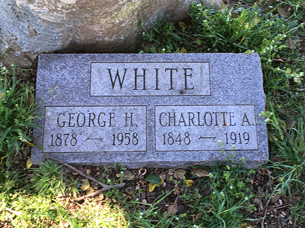 Grave marker of Charlotte White and George White