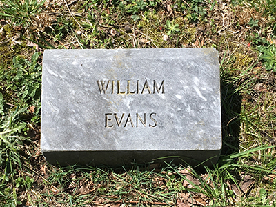 William Evans grave marker